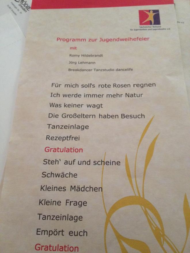 Programm zur Jugendweihe